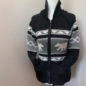 Polar Bear Zipper Knitted Cardigan
